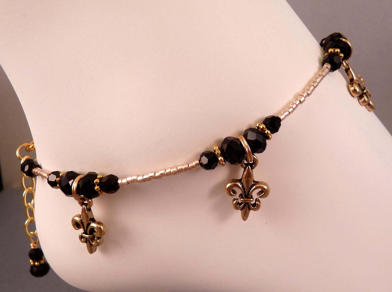 fleur de lis anklet anklet ankle bracelet beaded