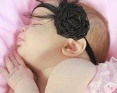 Black Feather Headband - Baby Headband - Toddler Headband