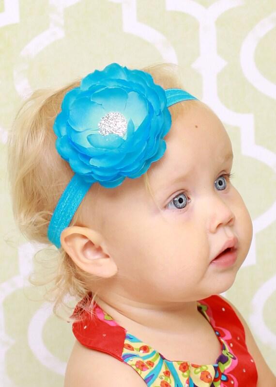 Baby Headband - Toddler Headband - Flower Headband - Blue Flower