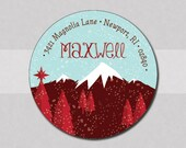 Holiday Return Address Labels - Round Address Stickers - Mountain Scene - set of 70