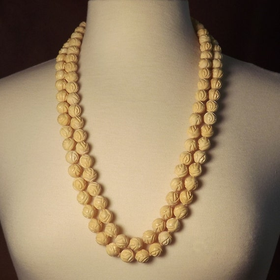 Faux Ivory Necklace Carved Rose Beads Vintage Mid Century