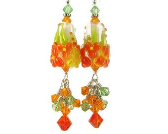 Orange Dangle Earrings, Lampwork Earrings, Glass Bead Earrings, Floral Earrings, Lampwork Jewelry, Pretty Cone Earrings, Flower Earrings