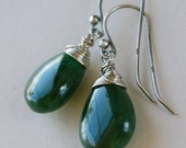 Green Aventurine, Evergreen, Smooth, Irish Shamrock Green and Sterling Silver Earrings - RESERVE listing