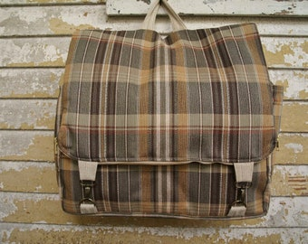 Adjustable backpack- super sturdy plaid - mens womens classic book bag