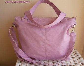 Carry Bag / Dusty Rose / Zipper Closure/Shoulder Bag/Messenger Bag /Laptop Bag / Diaper Bag / Travel Bag