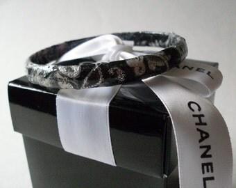 Couture Designed Black & White Damask One Decoupaged Bangle  LJO Collection Bracelet