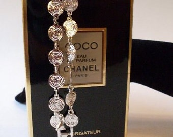 Stunning silver coins chain link couture bracelet  LJO Collection jewelry