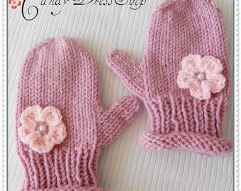 Light pink mittens for girls, Childrens flowered mittens, Girls Powder pink gloves, Baby girl wrist warmers, Girls pink mittens, Baby gloves