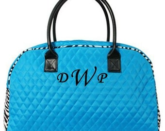"""Personalized 19"""" Duffle/Weekender Bag-Blue with Zebra Accents"""