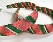 Red and Green Stripes with Tiny Polka Dots Ribbon Headband- for Women and Children