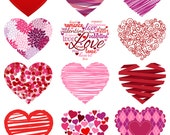 Valentine's Day Hearts Clipart Clip Art, Love Clipart Clip Art - Commercial and Personal