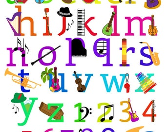 Music Alphabet Clipart Clip Art, Musical Instruments Letters Font, Lowercase and Numbers - Commercial and Personal Use