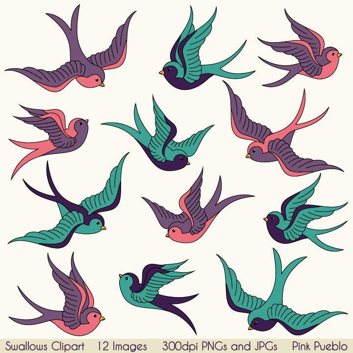 Swallows clip art clipart birds clipart clip art vintage for Swallow art tattoo