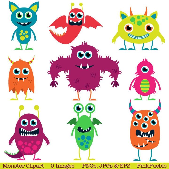 Cute Monsters Clip Art Clipart Aliens Clip Art by PinkPueblo: https://www.etsy.com/listing/65790290/cute-monsters-clip-art...