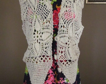 Festival Open Knit Crocheted Ecru Vest