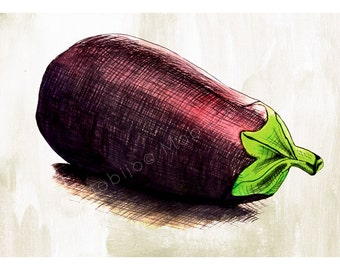 DIGITAL Eggplant illustration-postcard sized instant download of original ink and watercolor illustration