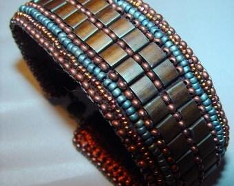 Coppered Denim Bead Embroidered Bracelet on Sale