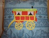 UK Reading Gypsy Caravan Wagon Vardo, pillow case, cushion cover, hippy, vintage fabric