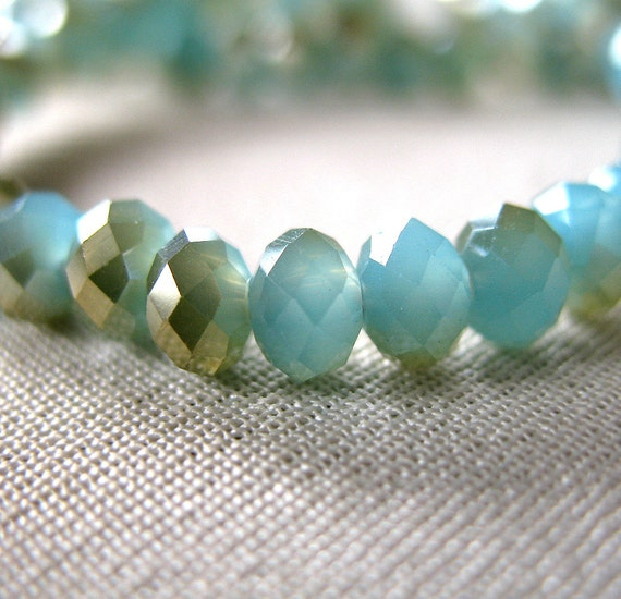 "RESERVED for L  2 strands Frosted Light Turquoise Blue with Gold Accents, Opaque Faceted Crystal Beads, 4mm x 3mm, 12"" strand, 100 beads"