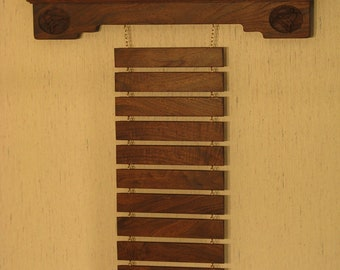 Personalized Solid Walnut Martial Arts Trophy Shelf and Belt Display Rack with Kickers WS