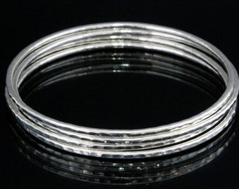 Sil-B-004 Handmade 4 round wire hammer sterling silver stacking bangles
