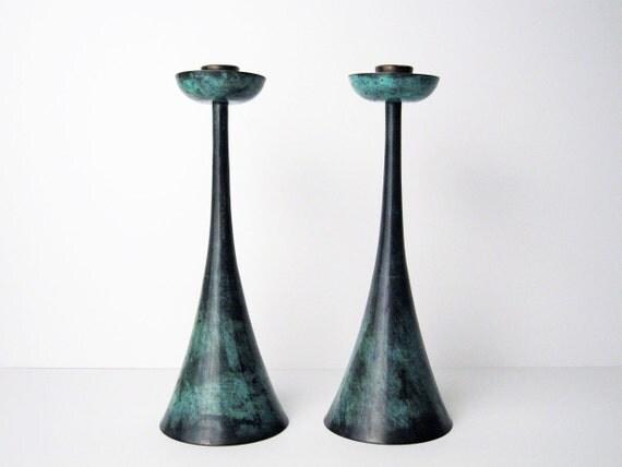 "Rare PAL BELL Bronze Candle Holders ""Zohar"" - Maurice Ascalon - Modernist Verdigris Metal Candlesticks"