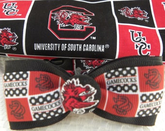 Dog Collar USC University of South Carolina Gamecock w Ribbon Bow Tie CHOOSE SIZE Adjustable with D Ring Sports Football Baseball Accessory