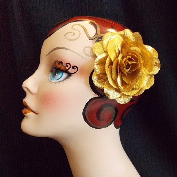 Rockabilly Metalic Gold Country Pin Up Rose by VDM