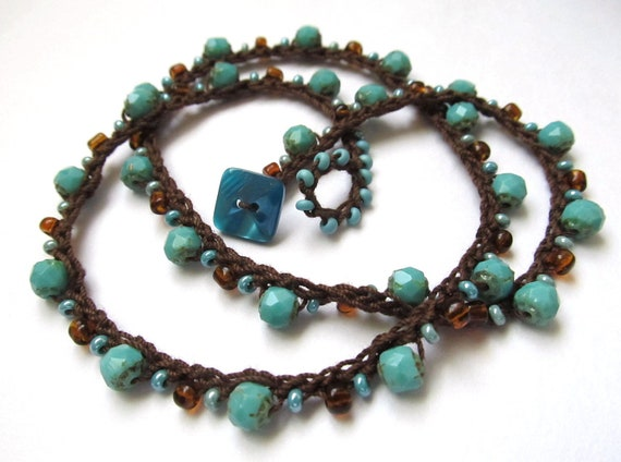 "Crochet necklace / wrap bracelet, beaded, turquoise, ""dark star"", bohemian jewelry, fall fashion, crochet jewelry, fiber jewelry"