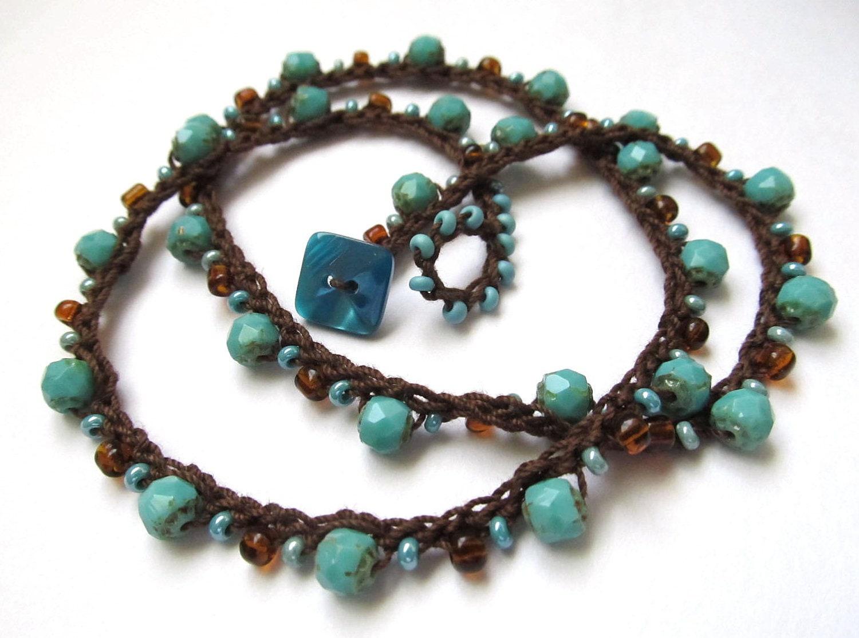 crochet necklace wrap bracelet beaded turquoise. Black Bedroom Furniture Sets. Home Design Ideas