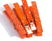 CHRISTMAS SNOWMEN orange hand painted clothespin magnets