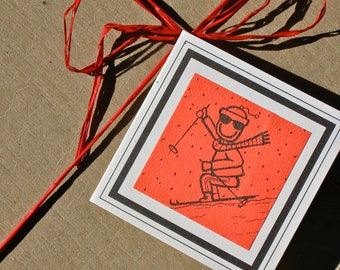 SKIER GIFT TAGS set of 3