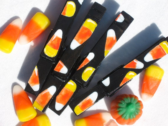 CANDY CORN hand painted magnetic clothespin pegs