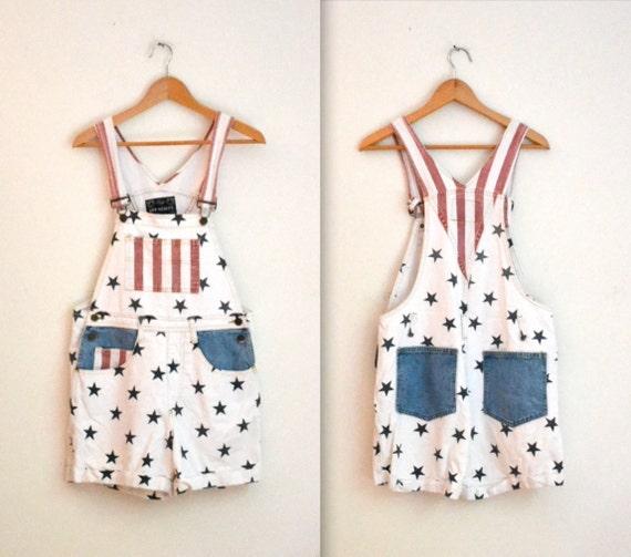 USA Vintage Overalls American Flag// Patriotic Overalls Shorts Size Small Medium
