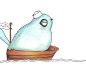 Little blue bird out at sea print 7x9 in