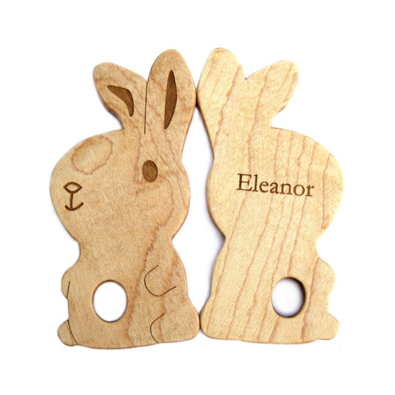 Personalized Bunny baby teething toy wooden