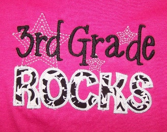 Thrid Grade Rocks shirt 3rd Grade Rocks Shirt appliqued Damask fabric t shirt