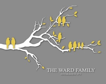"Gift for Grandparents Personalized Family Tree Custom Love Bird Family Tree Branch - Housewarming/Anniversary/Wedding Gift- 11""x14"""