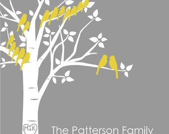 "Christmas Gift for grandparents Personalized Custom Love Birds Family Tree - Anniversary Gift for Grandparents -  11""x14"""
