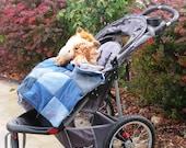 Sale - Denim Stroller Quilt with Bag