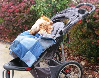 Sale - Denim Stroller Quilt with Bag