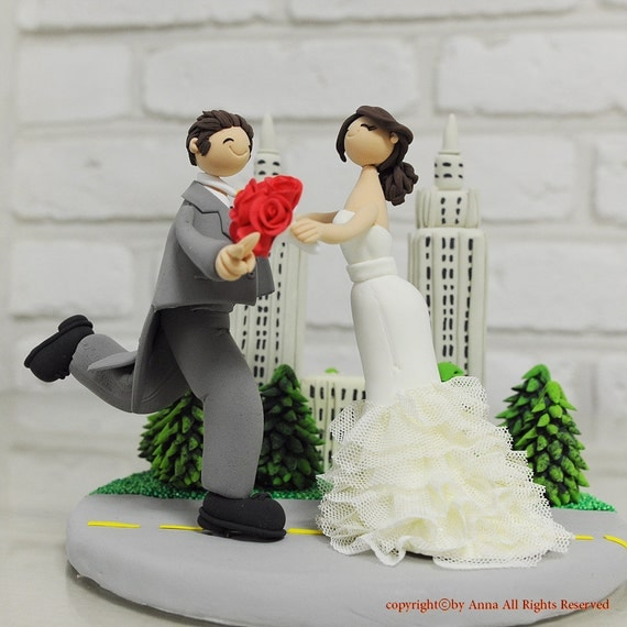 wedding cake toppers in new york new york central park custom wedding cake topper by annacrafts 26513