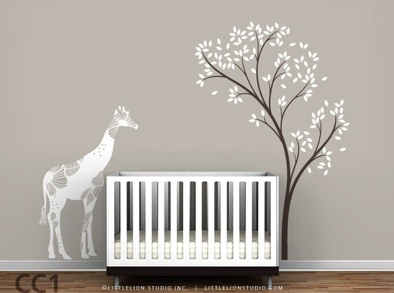 Baby floral giraffe and spring tree wall decal by for Baby nursery tree mural