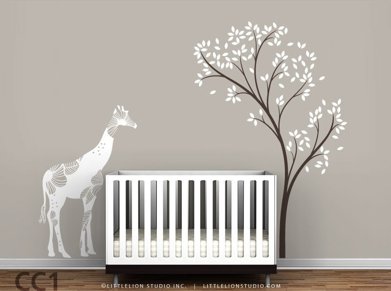 Baby floral giraffe and spring tree wall decal white dark for Baby nursery tree mural