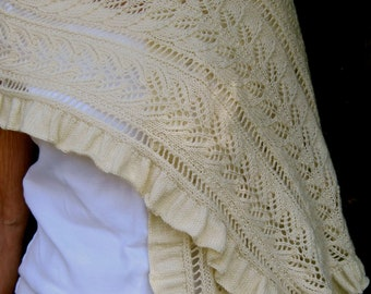 Knit Wrap Pattern:  Love the Earth Lace Shawl Knitting Pattern