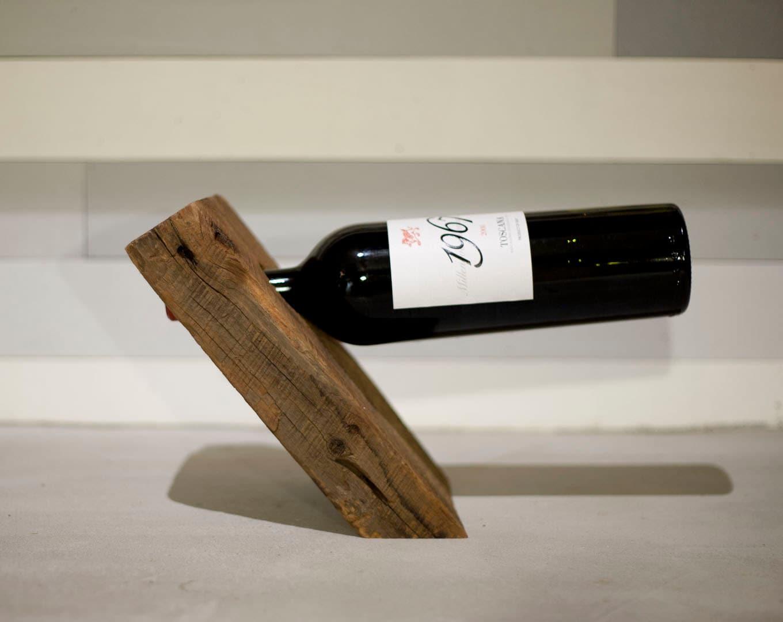 Anti-Gravity Reclaimed Wood Wine Bottle Holder