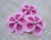 Set of 6pcs - 3D handmade Felt Flower - Kamboja 6 (Baby Pink, Cream, Flamingo)