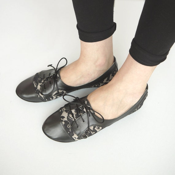 The Sofia Oxfords in Lace - Cute Handmade Leather Oxford Shoes