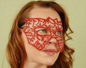 SHEER MASK- Fire Bat- masquerade mask, Mardi Gras, ballroom, fairy, Venetian, Halloween, tattoo
