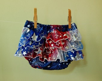 Diaper Cover- baby- Fourth of July Sparkle- Holiday- size 6-12 month- L- photo prop